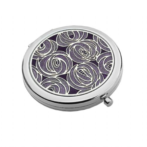 Compact Mirror Silver Plated Mackintosh Roses Handbag Magnifying Travel Cosmetic